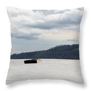 Ohio River Barge  Throw Pillow