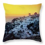 Oia Town , Santorini Island, Greece Throw Pillow
