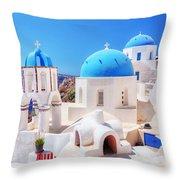 Oia Town On Santorini Island Greece Aegean Sea Throw Pillow