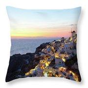 Oia Village In Santorini Island - Greece Throw Pillow
