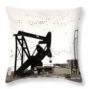 Oil And Birds Throw Pillow