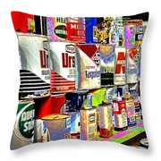 Oil Can Collection Throw Pillow