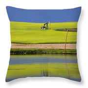 Oil Jack Reflection Saskatchewan Throw Pillow