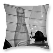 Oil Lamp B And W Throw Pillow