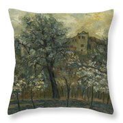 Oil Painting House Tree Throw Pillow