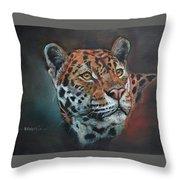 Oil Painting Jaguar Throw Pillow