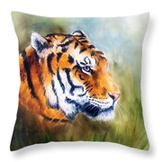 Oil Painting Of A Bright Mighty Tiger Head On A Soft Toned Abstr Throw Pillow