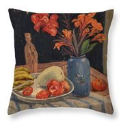 Oil Painting Still Life Vase Fruits Throw Pillow