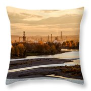 Oil Refinery At Sunset Throw Pillow