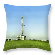 Oil Rig In North Dakota Throw Pillow