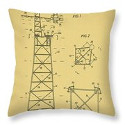 Oil Rig Patent Throw Pillow