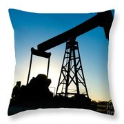 Oil Rig Silhouette Throw Pillow