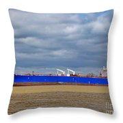 Oil Tanker Ship At Dock Throw Pillow