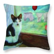 Ok I'll Pose - Painting - By Liane Wright Throw Pillow