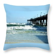 Okaloosa Pier Breaking Throw Pillow