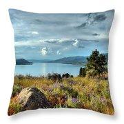 Okanagan Lake In The Spring Throw Pillow