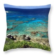 Okinawa Blue Ocean Throw Pillow