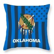 Oklahoma State Flag Graphic Usa Styling Throw Pillow