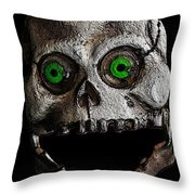 Ol' Wooden Skull Throw Pillow