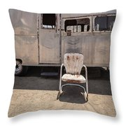 Old 1930 Silver Camping Trailer Throw Pillow by Edward Fielding
