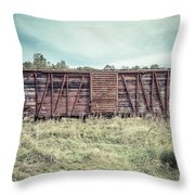 Old Abandoned Box Cars Central Vermont Throw Pillow