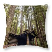 Old Abandoned Cabin In The Woods Throw Pillow