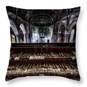 Old Abandoned Church Organ In Decay Throw Pillow