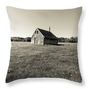 Old Abandoned Farm Building Throw Pillow