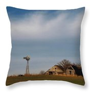 Old Abandoned Farmstead In Kansas Throw Pillow