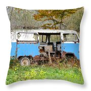 Old Abandoned Hippie Van Throw Pillow