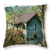 Old Abandoned Rural Hose Throw Pillow