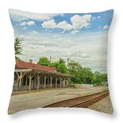 Old Abandoned Train Depot Throw Pillow