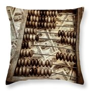 Old Accounting Wooden Abacus Throw Pillow