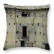 Old Adobe Building In Otavalo Throw Pillow