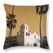 Old Adobe Mission Poster Throw Pillow