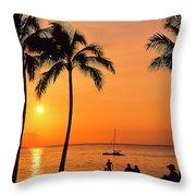 Old Airport Beach Sunset Throw Pillow