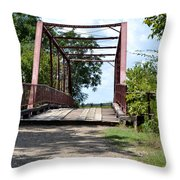 Old Alton Bridge In Denton County Throw Pillow