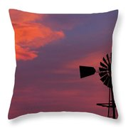 Old American Farm Windmill With A Sunset  Throw Pillow