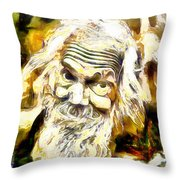 Old And Happy Man Throw Pillow