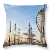 Old And New At Gunwharf Quays Throw Pillow