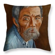 Old Asian Worker Throw Pillow