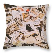 Old Australia In Stamps Throw Pillow