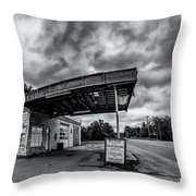 Old Auto Garage In Ellershouse Throw Pillow