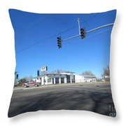 Old Automotive Service Station Throw Pillow