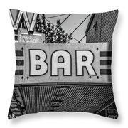 Old Bar Sign Livingston Montana Black And White Throw Pillow