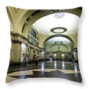 Old Barcelona Train Station Throw Pillow