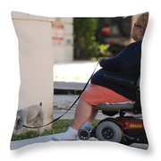 Old Barefoot Women Throw Pillow