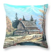 Old Barn Above The Pond  Throw Pillow