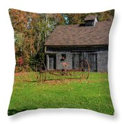 Old Barn And Rusty Farm Implement 01 Throw Pillow