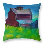 Old Barn And Shed  Throw Pillow by Steve Jorde